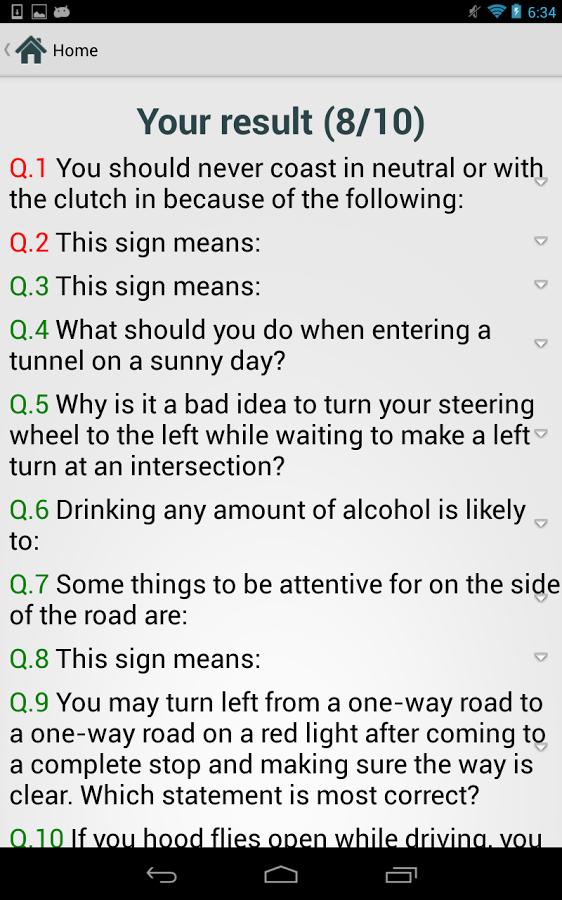 north carolina drivers ed test quizlet