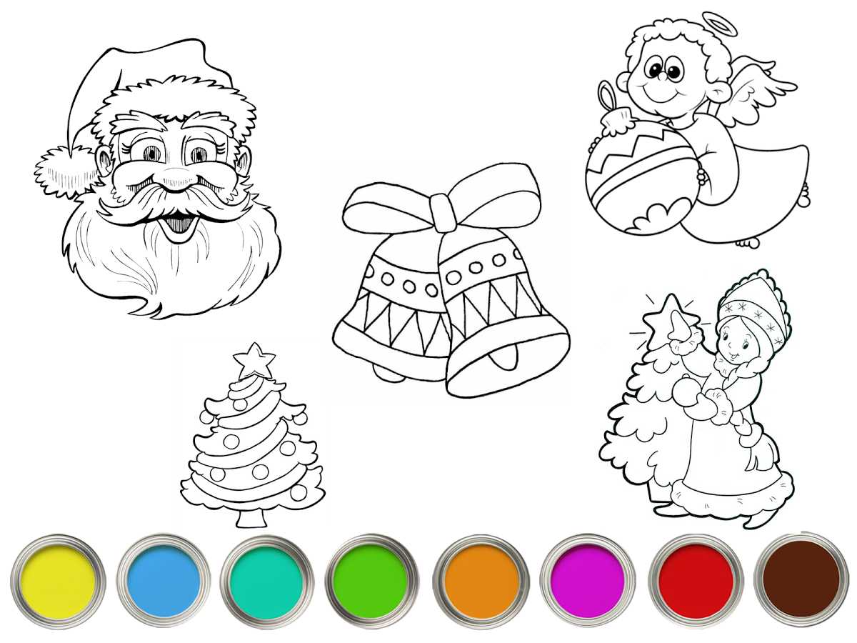 Coloring Book With Santa Claus Christmas Tree And Snowman Create Your Own Drawings Draw Pencil Eraser Undo Redo Last