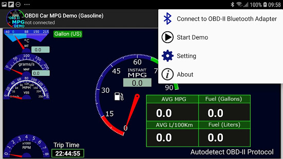 OBDII Car MPG Demo (Gasoline) App Ranking and Store Data