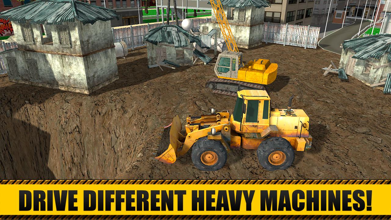 Maneuver Cranes Trucks And Excavators To Gain Ultimate Experience Of House Building Complete Missions And Enjoy Nice View Of Your Own Modern City With
