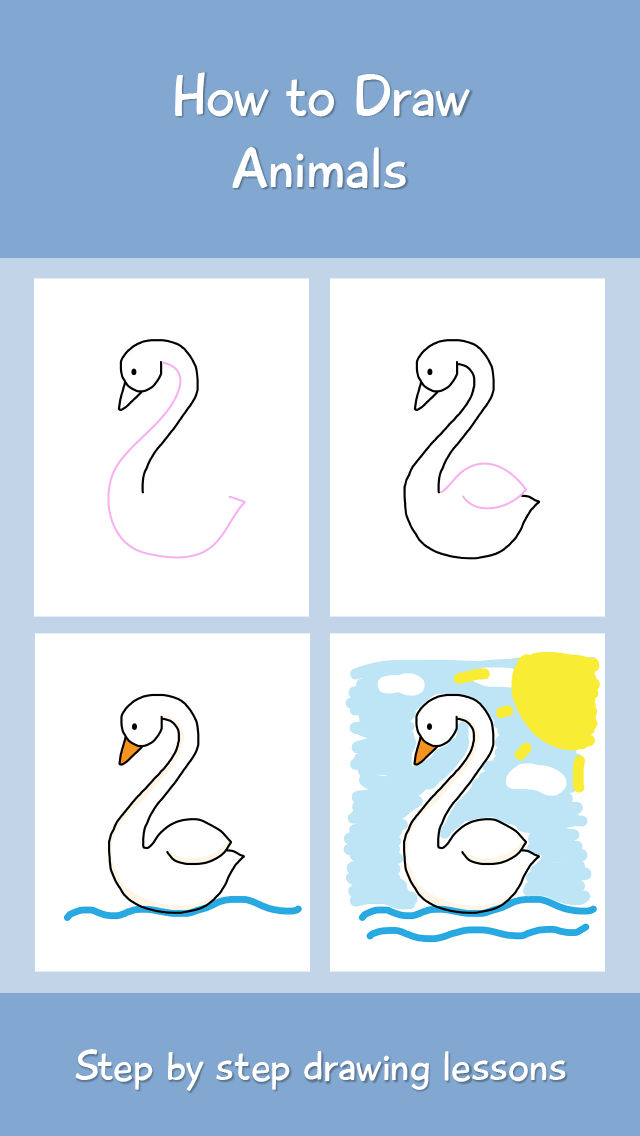 Scribble Drawing App : How to draw animals step by drawing lessons for
