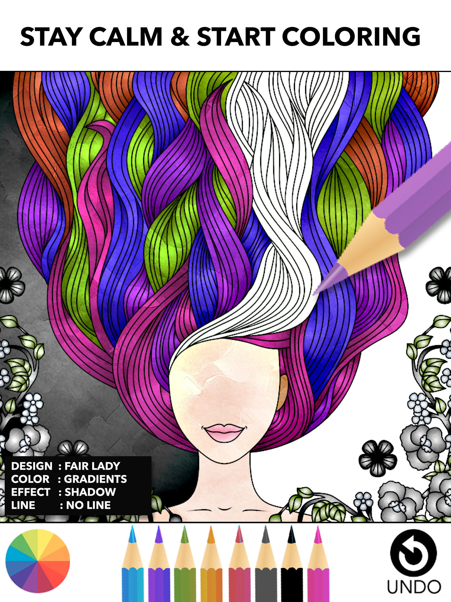 Color therapy anti stress coloring book app - Color Therapy Miinu App Description