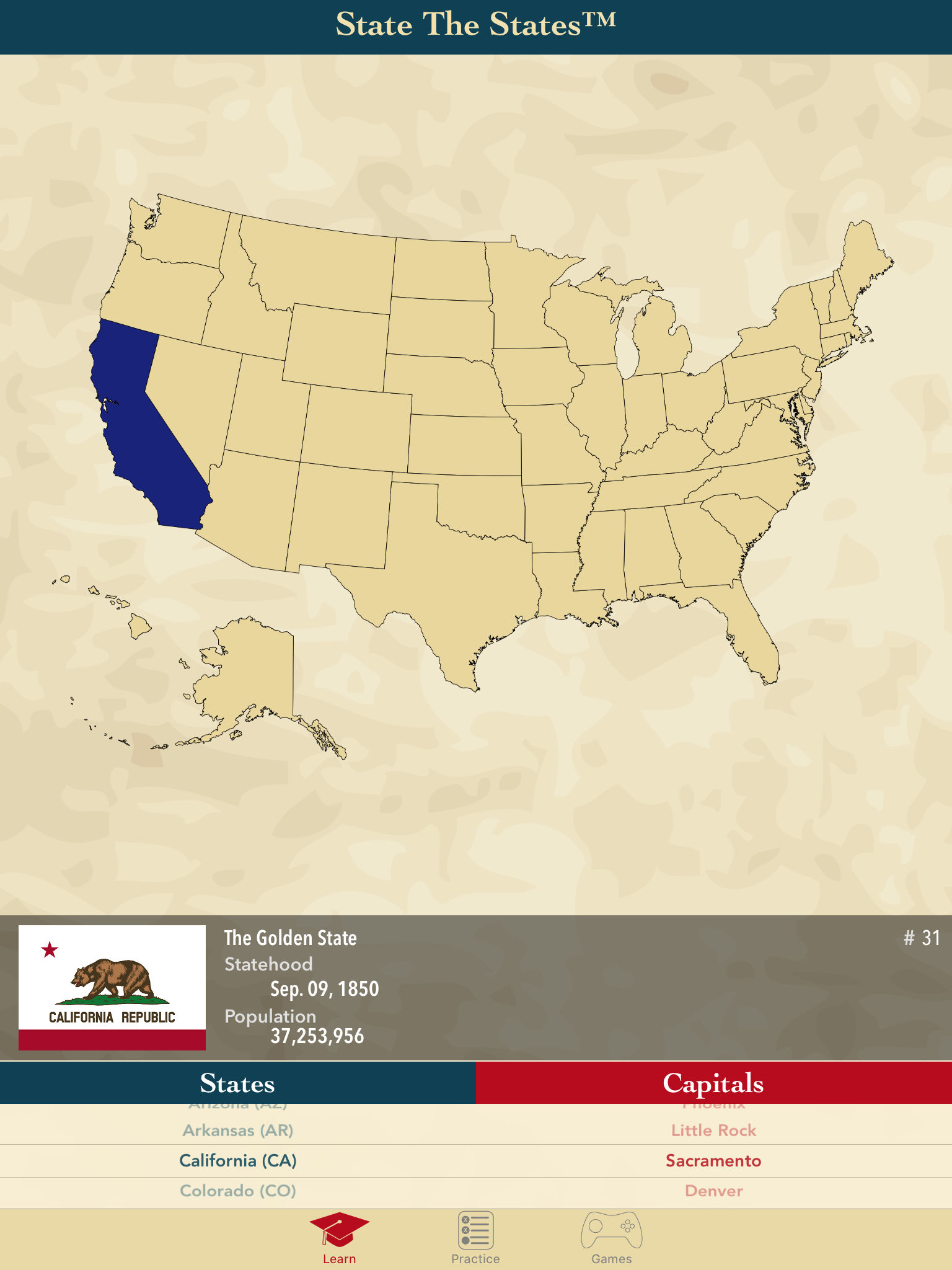 State The States Learn US States And Capitals App Ranking And - 50 states map capitals