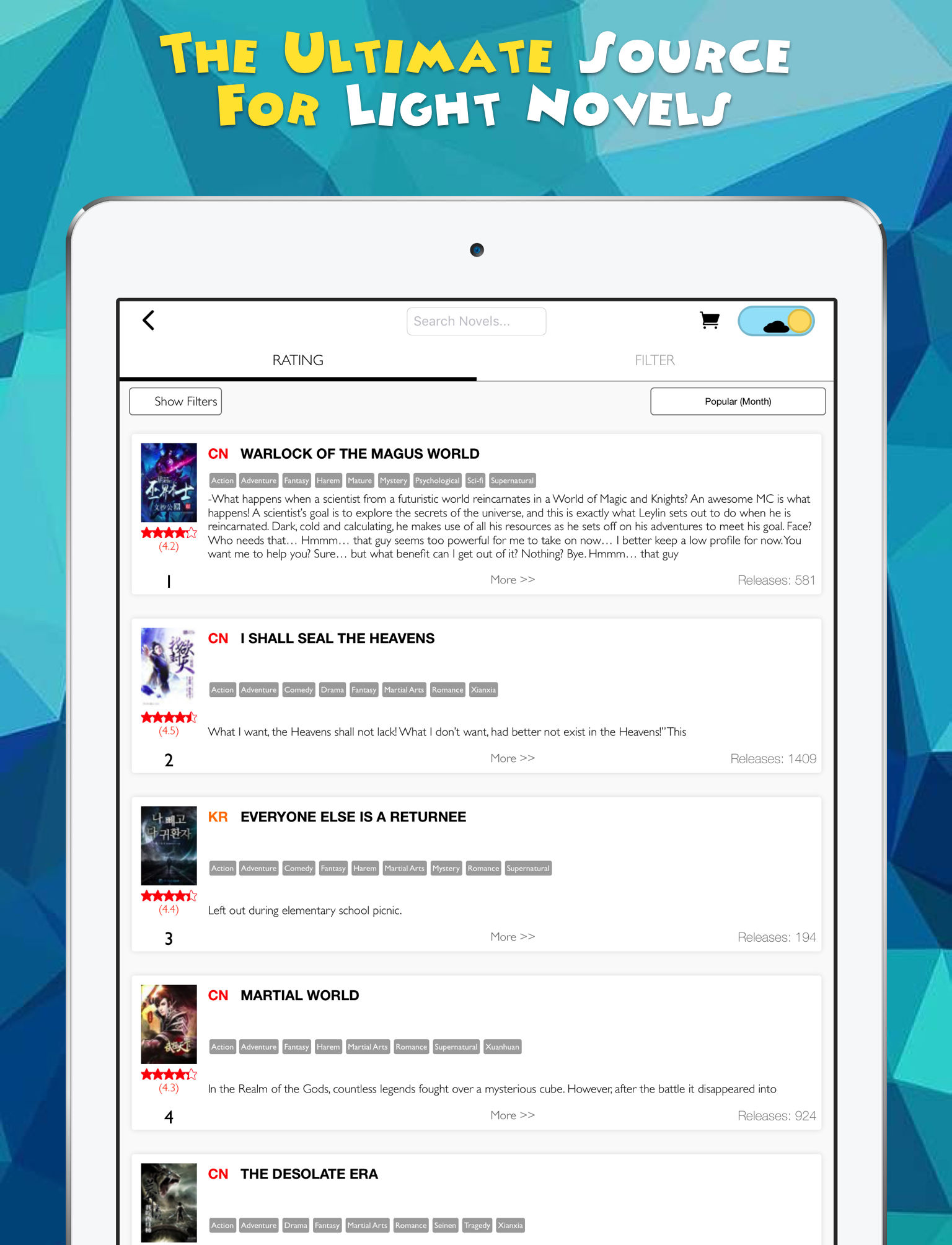 Novel Updates, The Best Reader for Light Novels App Ranking and