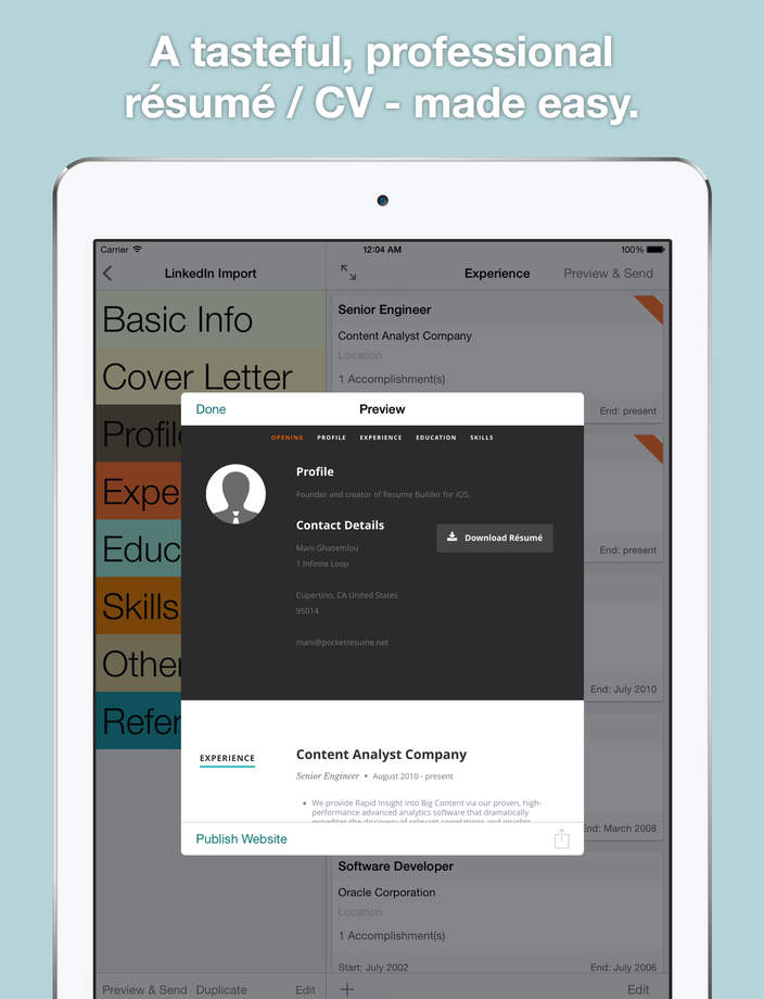resume resume builder is the best selling app that allows you to