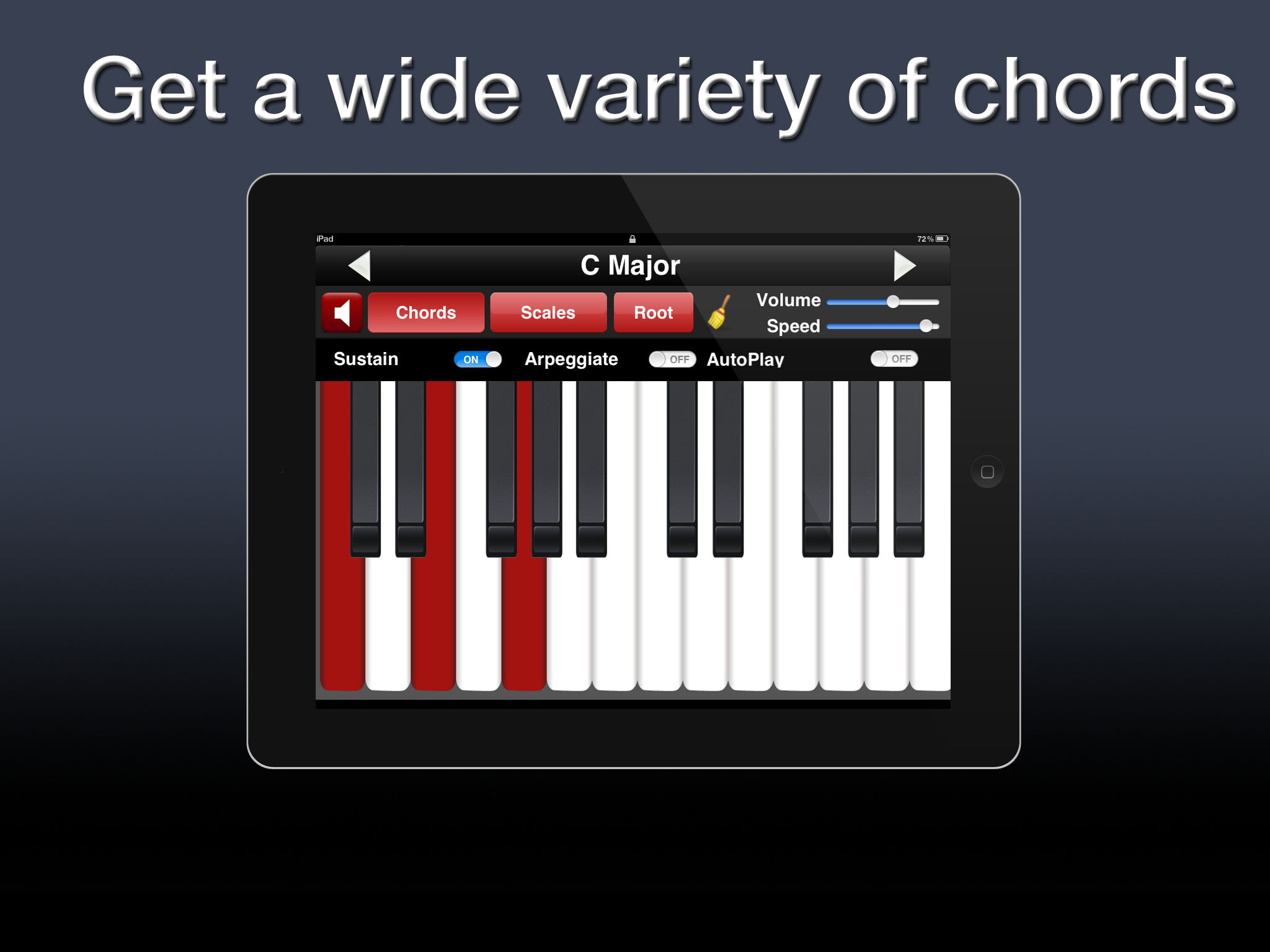 Piano chords scales app ranking and store data app annie chords and scales for the twelve keys 126 chord combinations for each key 108 scales combinations for each key selected scales and chords displayed in hexwebz Gallery