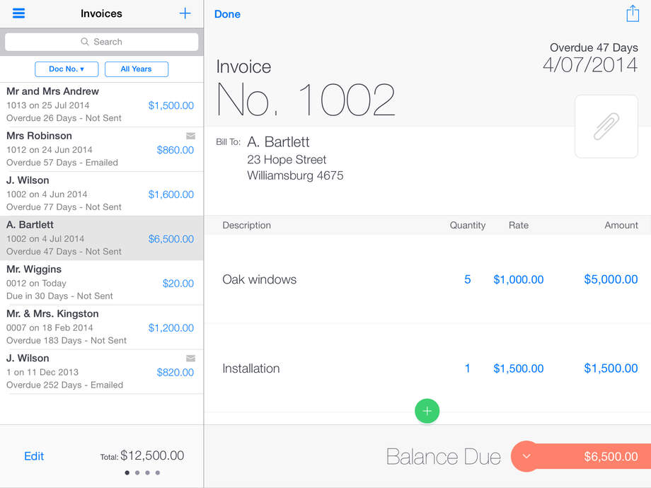 Invoice2go professional invoices on the go for small for Best ios invoice app