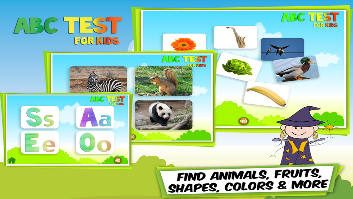 ABC Test for Kids: Find Animals, Letters, Numbers, Fruits
