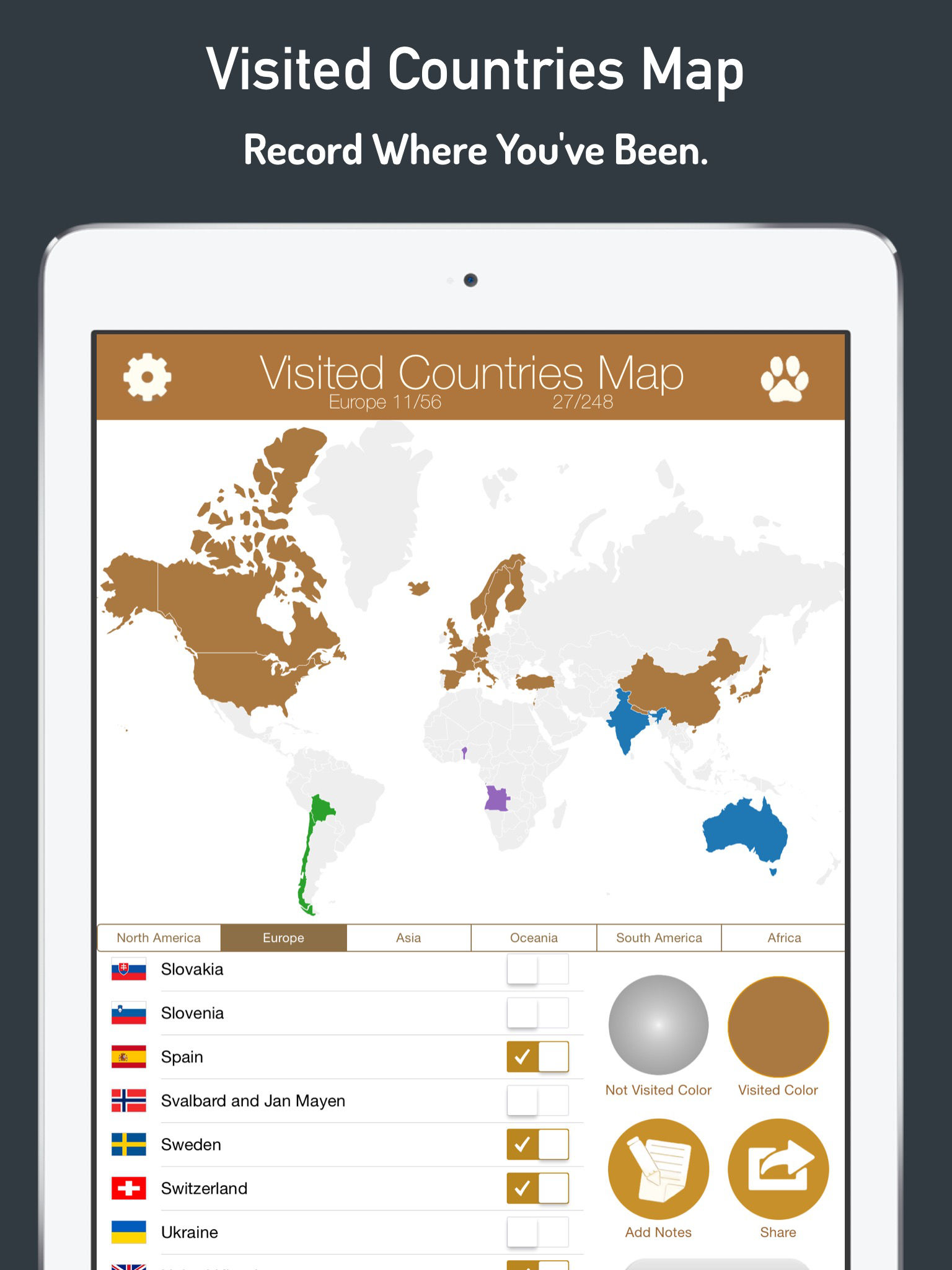 Visited Countries Map World Travel Log For Marking Where You Have - Create map of countries visited