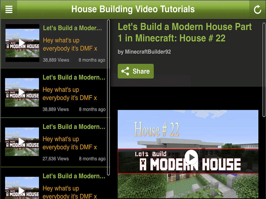 Houses for minecraft video tutorials house building House building app