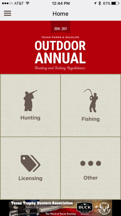 Outdoor annual texas hunting fishing regulations app for Buy texas fishing license online