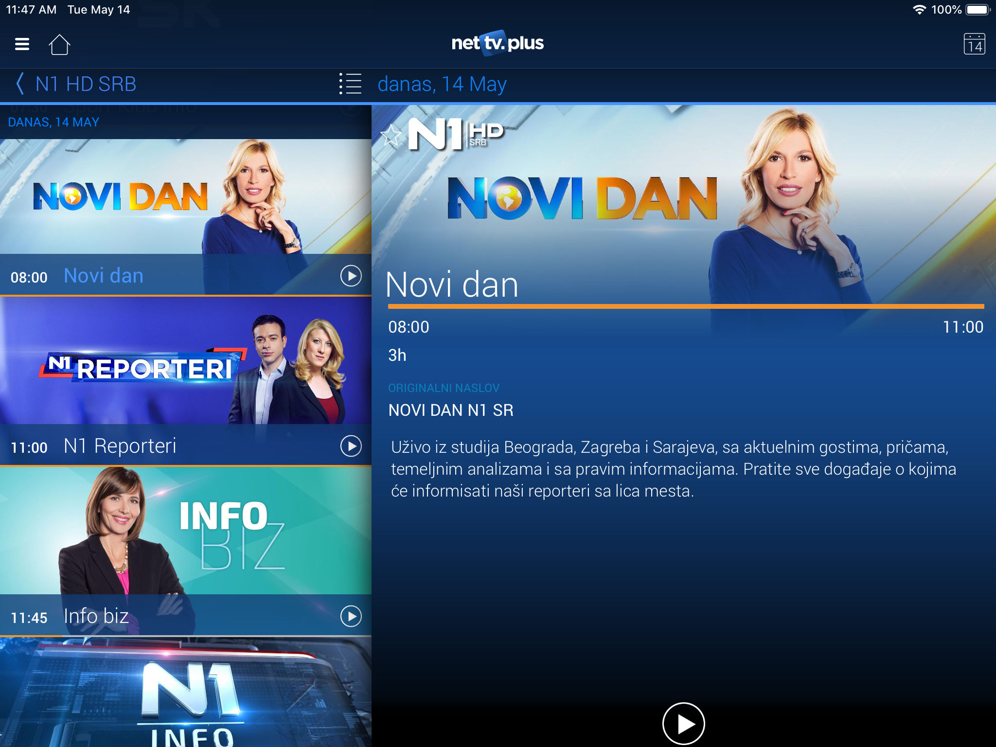 Net Tv Web App