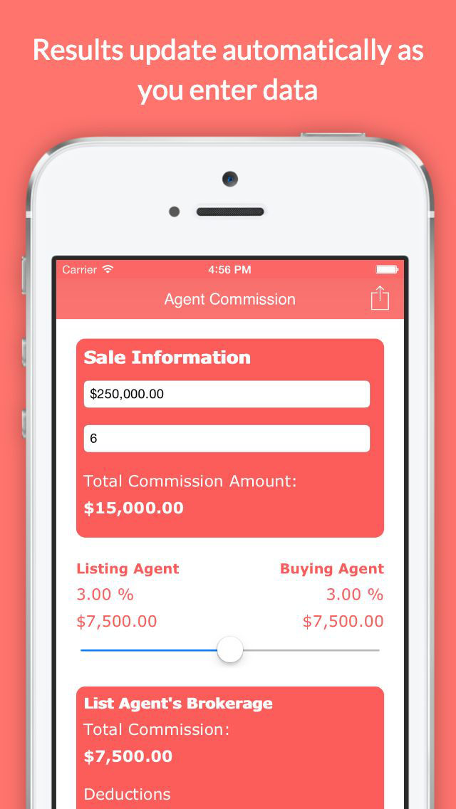 real estate agent commission calculator app ranking and store data
